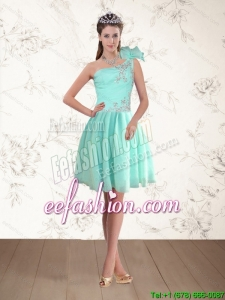 Discount Apple Green One Shoulder Prom Dresses with Beading