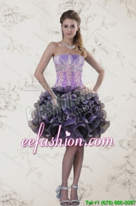 In Stock Strapless Multi Color Prom Dresses with Ruffles and Appliqeues