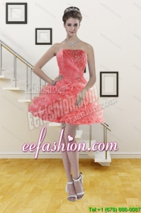 Watermelon Red Strapless 2015 Prom Gown with Beading and Ruffles