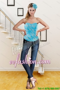 Perfect 2015 Sweetheart Beaded Teal Corset with Embroidery