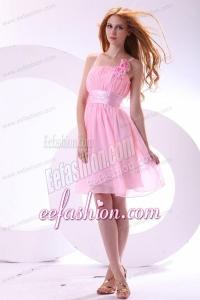 Pretty A-line Straps Knee-length Chiffon Sashes Pink 2014 Prom Dress