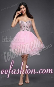Princess Baby Pink Sweetheart Beading Organza Knee-length Prom Dress