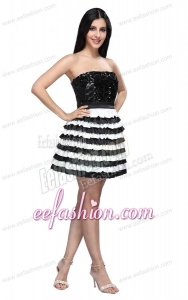 Strapless Black and White Mini-length Sequins Layered Prom Dress