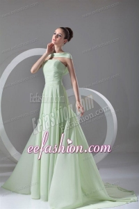 Elegant Empire Strapless Green Court Train Ruching Prom Dress