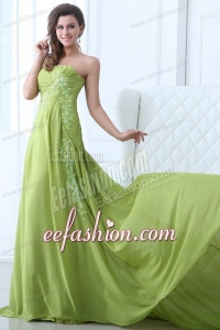 Empire Strapless Yellow Green Appliques and Ruching Prom Dress