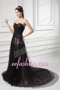 Formal Empire Sweetheart Court Train Black Tulle Ruching Prom Dress