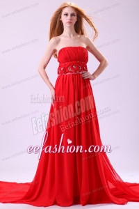 Informal Empire Strapless Chiffon Hand Made Flowers Brush Train Red Prom Dress