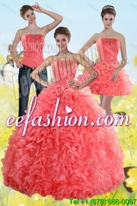 2015 Inexpensive Watermelon Sweet 15 Dresses with Beading and Ruffles