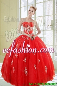 2015 Popular Red Quinceanera Dresses with Appliques