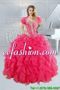 2015 Unique Hot Pink Quince Dresses with Ruffles and Beading