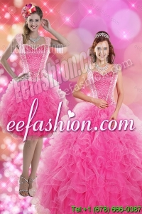 2015 Wonderful Hot Pink Quinceanera Dresses with Beading and Ruffles