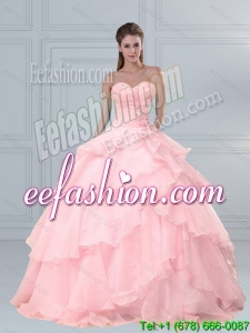 Popular Pink Sweetheart Beading Quinceanera Dresses with Ruffled Layers
