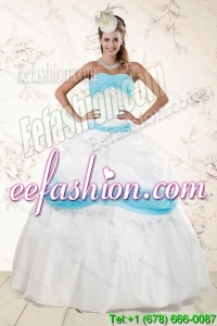 2015 Cheap Strapless Floor Length Sweet 16 Dresses with Appliques