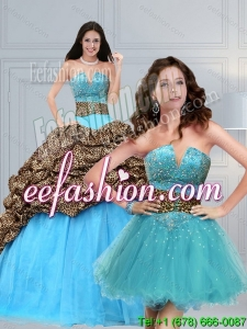 2015 Leopard Printed Baby Blue Brush Train Beading Quinceanera Dress