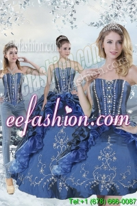 Wonderful Blue Sweet 15 Dresses with Embroidery and Beading for 2015