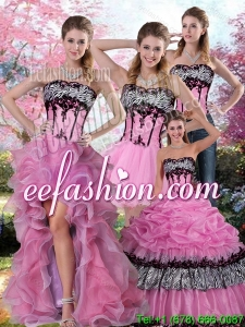 Zebra Printed Multi Color Quinceanera Dress with Pick Ups and Appliques