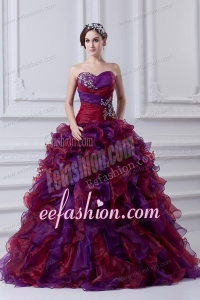 2014 Multi-color Sweetheart Ball Gown Beading Quinceanera Dress with Ruffles
