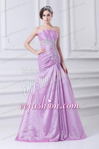 A-line Strapless Lilac Taffeta Appliques with Beading Prom Dress