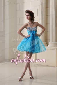 A-line Sweetheart Organza Ruching Mini-length Prom Dress in Baby Blue