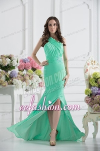 Apple Green Column One Shoulder Prom Dress with Ruching and Beading