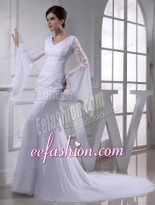 Cheap Column V-neck Lace Chiffon Wedding Dress With Long Sleeves