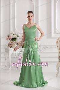 Column Spaghetti Straps Floor-length Ruching Taffeta Green Prom Stress