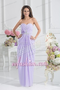 Column Sweetheart Floor-length Ruching Lavender Prom Dress