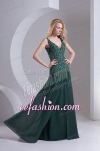 Column V-neck Chiffon Beading Dark Slate Gray Prom Dress