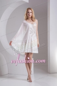 Column White One Shoulder Chiffon Prom Dress with Beading and Lace