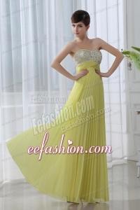 Empire Beading Sweetheart Beading Pleats Yellow Prom Dress