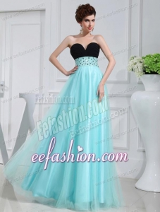 Empire Beading Tulle Floor-length Strapless Aqua Blue Prom Dress