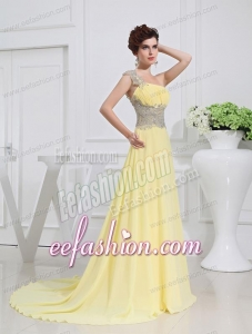 Empire Court Train Yellow Beading One Shoulder Prom Dress