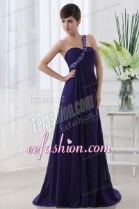 Empire One Shoulder Brush Train Appliques Purple Prom Dress