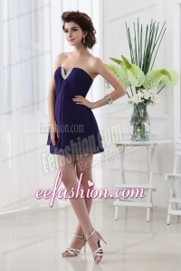 Empire Strapless Mini-length Sleeveless Beadings Chiffon Prom Dress