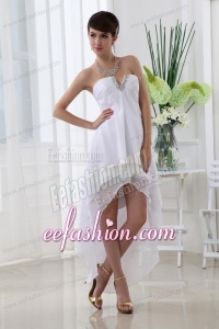 Empire Strapless White High Low Prom Dress with Chiffon