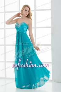 Empire Teal Blue Sweetheart Floor-length Beading Prom Dress