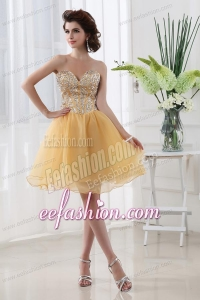 Gold A-line Beautiful Sweetheart Beading Organza Prom Dress