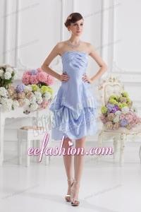 Lavender Strapless Short Taffeta Prom Dress with Bowknot
