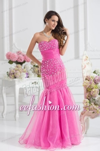 Mermaid Sweetheart Beading Floor-length Organza Hot Pink Prom Dress