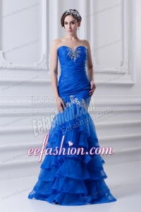 Mermaid Sweetheart Organza Prom Dress with Beading and Ruffled Layers