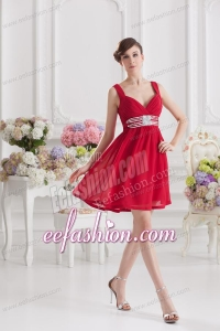 Red Empire Straps Prom Dress with Ribbons and Beading