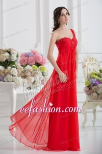 Sweetheart One Shoulder Empire Beading Red Prom Dress