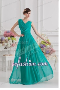 V-neck Empire Green Chiffon Prom Dress with Ruching and Beading