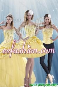 Exquisite Strapless 2015 Strapless Beading Quinceanera Dresses