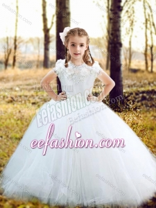 Fashionable Scoop Really Puffy Flower Girl Dress with Hand Made Flowers and Appliques