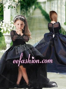 Romantic See Through Long Sleeves Flower Girl Dress in Navy Blue