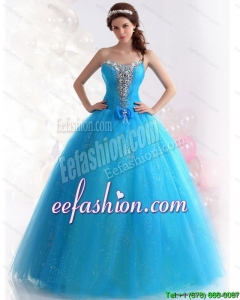 2015 Discount Blue Quinceanera Dresses with Rhinestones and Bowknot