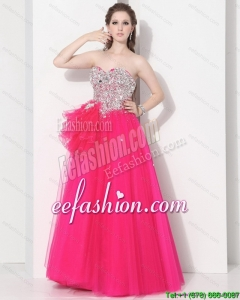 2015 Pretty Hot Pink Sweet Sixteen Dresses with Rhinestones
