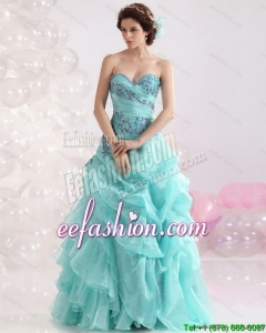 2015 Pretty Sweetheart Floor Length Quinceanera Dresses with Appliques