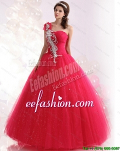 Pretty One Shoulder Dresses for a Quinceanera with Beading for 2015